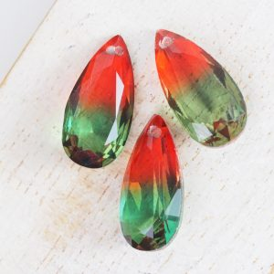 10x20 mm teardrop glass pendant Firefly Rainbow x 1 pc(s)