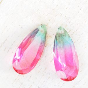 9x20 mm teardrop glass pendant Tourmaline Rainbow x 1 pc(s)