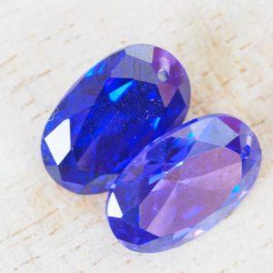15x10 mm Cubic Zirconia pendant Deep Purple x 1 pc(s)