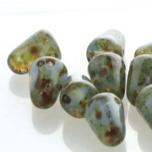 7.5x10 mm Gumdrop beads Milky Sapphire Picasso x 10 pc(s)