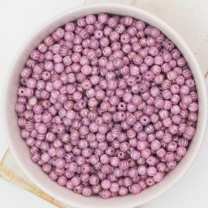 3 mm Melon beads Luster - Opaque Lilac x 100 pc(s)