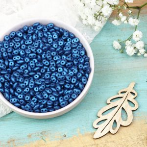 5 x 2.5 mm Superduo beads Metallic Suede Blue x 10 g