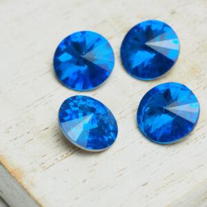 10 mm round glass cabochon Capri Blue x 4 pc(s)