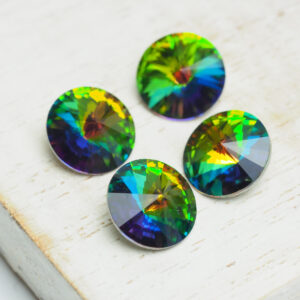 10 mm round glass cabochon Green Pink Rainbow x 4 pc(s)