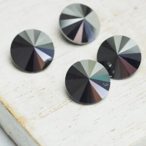 10 mm round glass cabochon Jet Hematite x 4 pc(s)