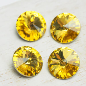 10 mm round glass cabochon Light Topaz x 4 pc(s)