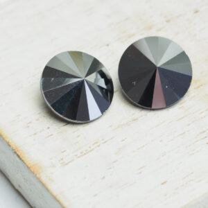 12 mm round glass cabochon Jet Hematite x 2 pc(s)