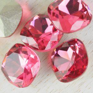 12 mm cushion cut glass cabochon Indian Pink x 1 pc(s)