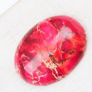 25x18 mm gemstone cabochon dyed jasper Pink x 1 pc(s)