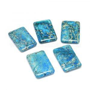60x40 mm gemstone pendant dyed jasper Blue x 1 pc(s)