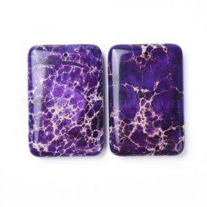 60x40 mm gemstone pendant dyed jasper Purple x 1 pc(s)
