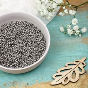 Miyuki seed beads 11/0 beads nr. 190F Matte Nickel Plated x 5 g