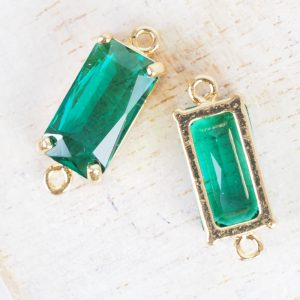 9x22 mm rectangle crystal connector Emerald Green x 1 pc(s)