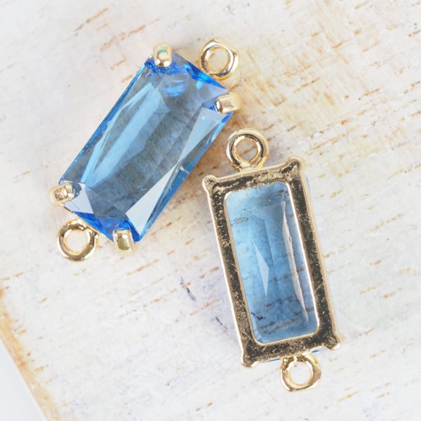 9x22 mm rectangle crystal connector Sapphire Blue x 1 pc(s)