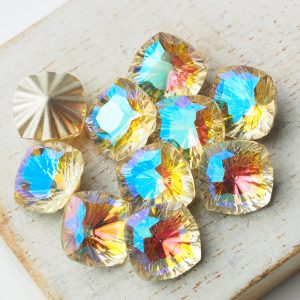 10 mm ripple square glass cabochon Paradise x 1 pc(s)