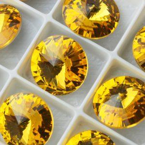 14 mm round glass cabochon Sunflower x 1 pc(s)