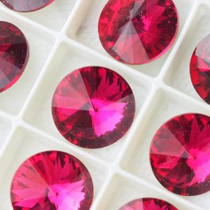 16 mm round glass cabochon Fuchsia x 1 pc(s)