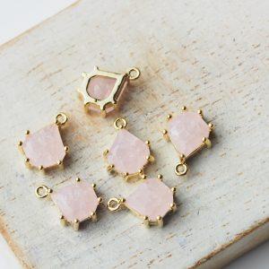 11x8 mm teardrop glass pendant drop in metal setting Icicle Light Pink x 1 pc(s)