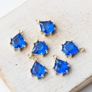 11x8 mm teardrop glass pendant drop in metal setting Icicle Sapphire Blue x 1 pc(s)