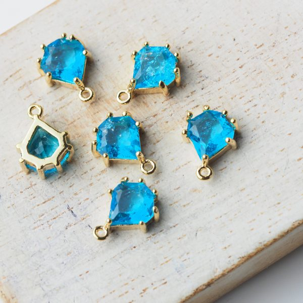 11x8 mm teardrop glass pendant drop in metal setting Icicle Vibrant Blue x 1 pc(s)