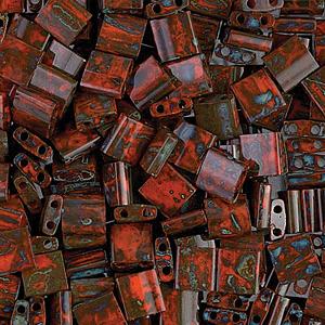 Miyuki Tila beads nr. 4520 Opaque Orange Picasso x 5 g