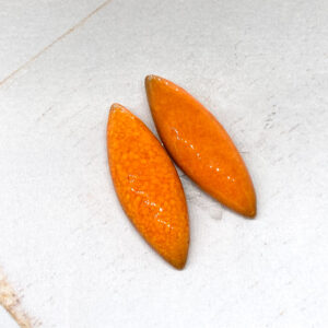 Small Navette L2Studio cabochon Orange on light clay x 2 pc(s)