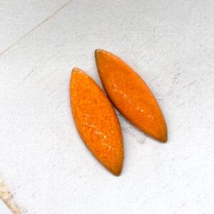 Small Navette L2Studio cabochon Orange on light clay x 2 pc(s)