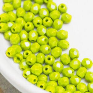 3 mm fire-polished beads 53420 Opaque Olivine x 100 pc(s)