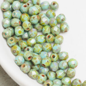 3 mm fire-polished beads T63020 Turquoise - Picasso x 100 pc(s)