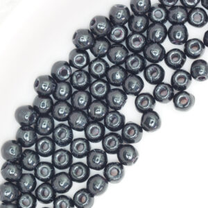 2 mm round glass pearls Jet x 100 pc(s)