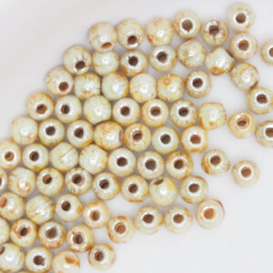 2 mm round glass pearls Opaque Luster - Picasso x 100 pc(s)