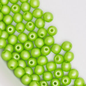 3 mm round glass pearls Powdery - Lime x 80 pc(s)