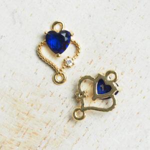 9 x 12 mm Double Heart Crystal Connector Dark Blue x 2 pc(s)