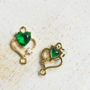 9 x 12 mm Double Heart Crystal Connector Grass Green x 2 pc(s)