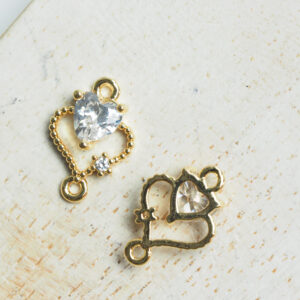 9 x 12 mm Double Heart Crystal Connector Transparent Crystal x 2 pc(s)
