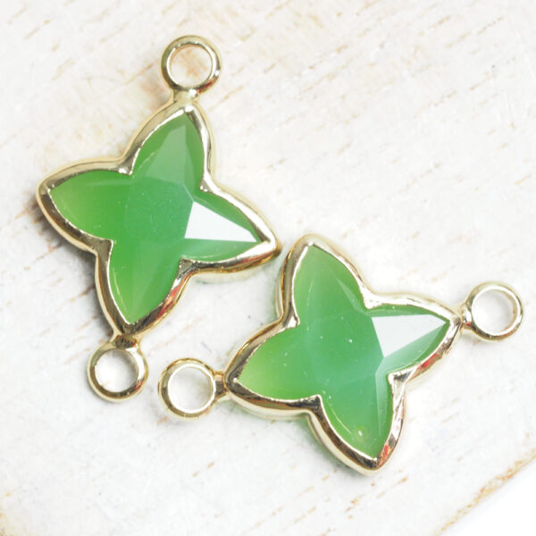 15x20 mm star crystal connector Jade Green x 2 pc(s)