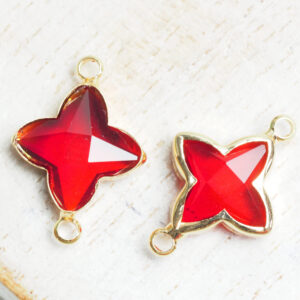 15x20 mm star crystal connector Red Siam x 2 pc(s)