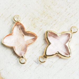 15x20 mm star crystal connector Transparent Pink x 2 pc(s)