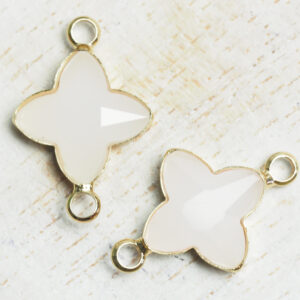15x20 mm star crystal connector White Opal x 2 pc(s)