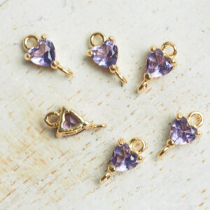 5 x 9 mm Tiny Heart Crystal Connector Light Purple x 4 pc(s)