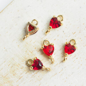 5 x 9 mm Tiny Heart Crystal Connector Light Siam x 4 pc(s)