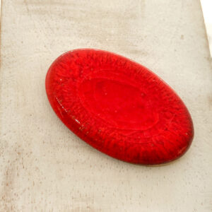 Mirror Oval L2Studio cabochon Red Flame on light clay x 1 pc(s)