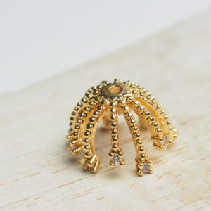 13 mm gold Bead Cap Dotty Rhinestone Nest x 1 pc(s)