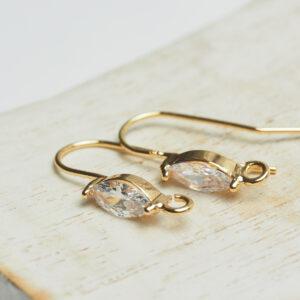 20 mm gold Earring Hook Navette x 2 pc(s)