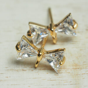 6x12 mm gold Earstud Bowtie x 2 pc(s)