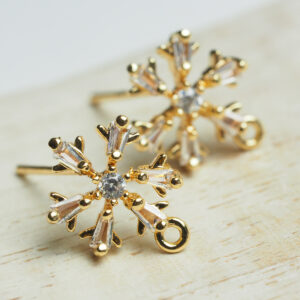 11 mm gold Earstud Snowflake x 2 pc(s)