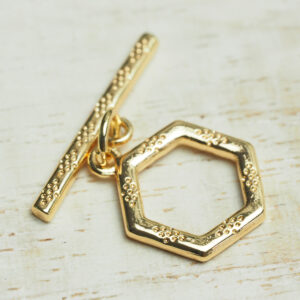 12x21 mm gold O-T Clasp Dotty Hexagon x 1 pc(s)