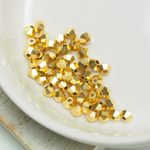 3 mm Preciosa bicone beads Crystal Aurum x 50 pc(s)