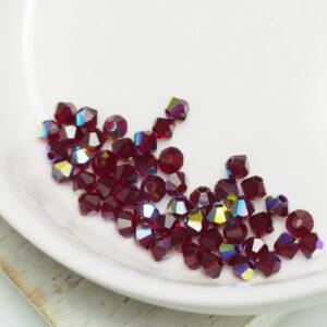 3 mm Preciosa bicone beads Siam AB x 50 pc(s)
