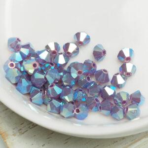 4 mm Preciosa bicone beads Amethyst Opal AB 2x x 50 pc(s)